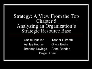Strategy: A View From the Top Chapter 5 Analyzing an Organization s Strategic Resource Base