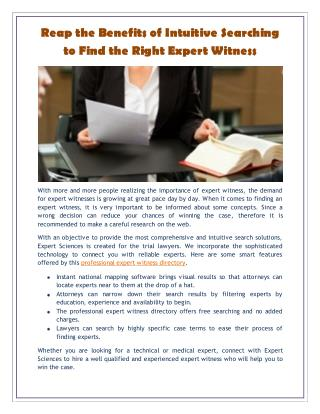 Reap the Benefits of Intuitive Searching to Find the Right Expert Witness
