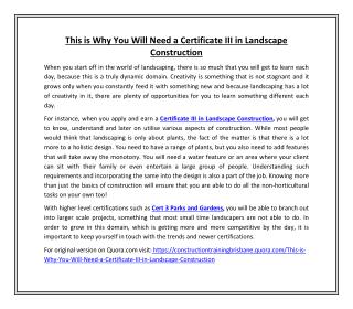 This is Why You Will Need a Certificate III in Landscape Construction