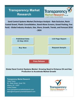 Sand Control Systems Market - Global Industry Analysis, Size, Share, Growth, Trends, and Forecast 2016 – 2024