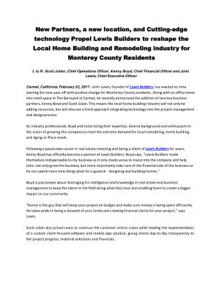 New Partners, a new location, and Cutting-edge technology Propel Lewis Builders to reshape the Local Home Building and R