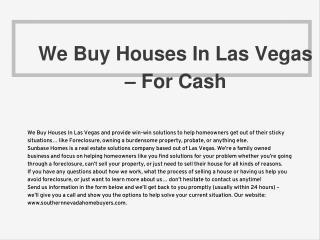 We Buy Houses In Las Vegas – For Cash