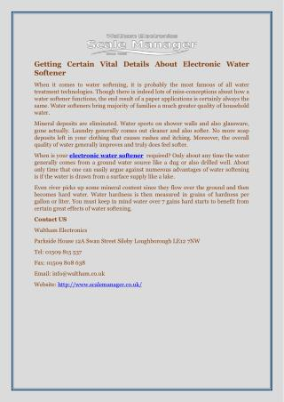 Getting Certain Vital Details About Electronic Water Softener