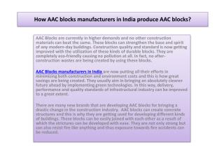 How AAC blocks manufacturers in India produce AAC blocks?