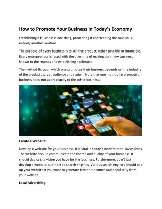 How to Promote Your Business in Today