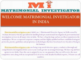 India's No.1 Matrimonial Detective Agency in Delhi
