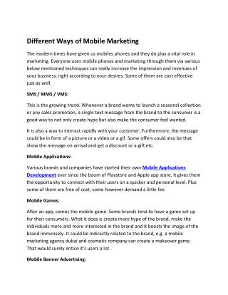 Different Ways of Mobile Marketing