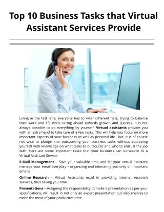 Top 10 Business Tasks that Virtual Assistant Services Provide