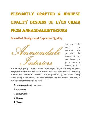 Elegantly Crafted & Highest Quality Designs of Lyon Chair from AnnandaleInteriors