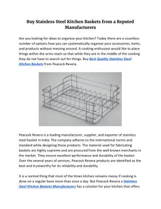 Buy Stainless Steel Kitchen Baskets from a Reputed Manufacturers