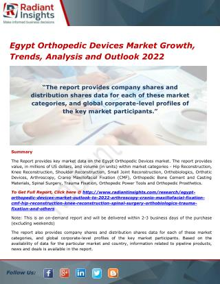 Egypt Orthopedic Devices Market Size, Definition and Outlook 2022