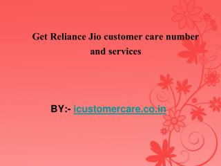 Get Reliance Jio customer care number and services