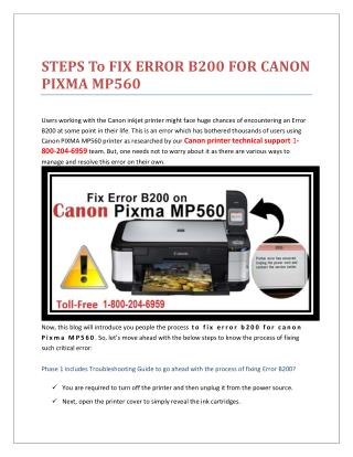 1-8002046959 STEPS TO FIX ERROR B200 FOR CANON PIXMA MP560