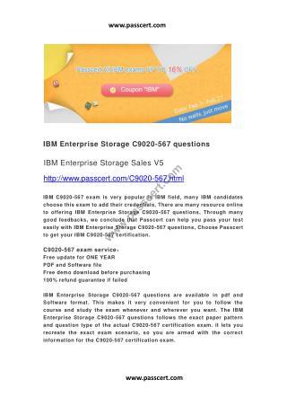 IBM Enterprise Storage C9020-567 questions