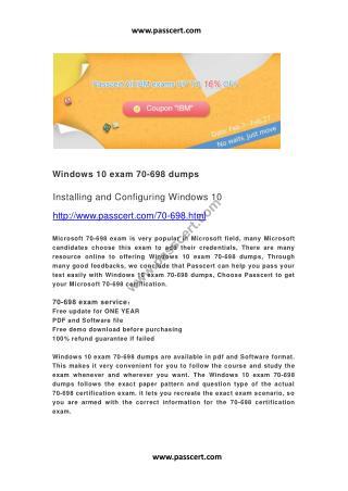 Windows 10 exam 70-698 dumps