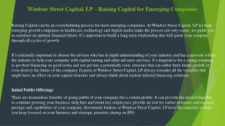 Windsor Street Capital, LP – Raising Capital for Emerging Companies
