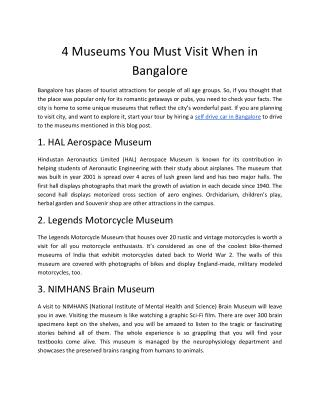 4 Museums You Must Visit When in Bangalore