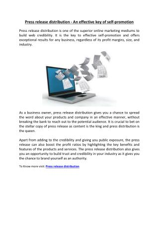 Press release distribution - An effective key of self-promotion