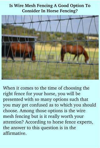Is Wire Mesh Fencing A Good Option To Consider In Horse Fencing?