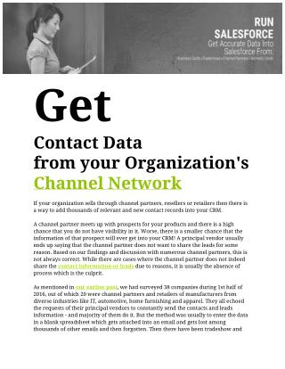 Get contact data from your organizations channel network