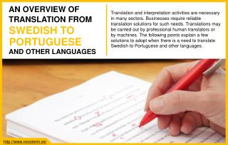 Varied options to translate Swedish to Portuguese and other languages