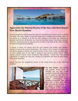 Appreciate the Eternal Beauty of the Sun with Best Sunset View Resort Zanzibar