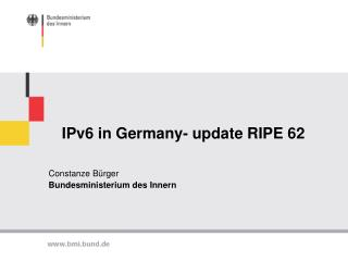 IPv6 in Germany- update RIPE 62