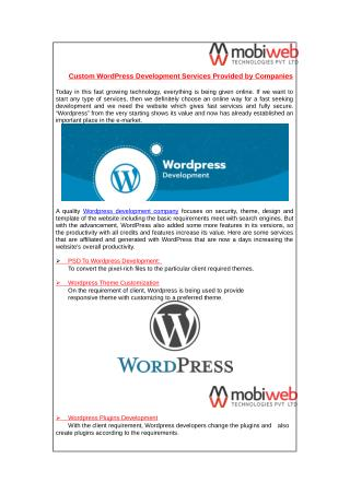 Custom WordPress Development Services Provided by Companies