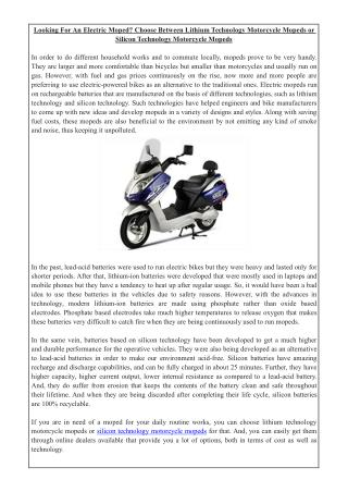 Looking For An Electric Moped? Choose Between Lithium Technology Motorcycle Mopeds or Silicon Technology Motorcycle Mope