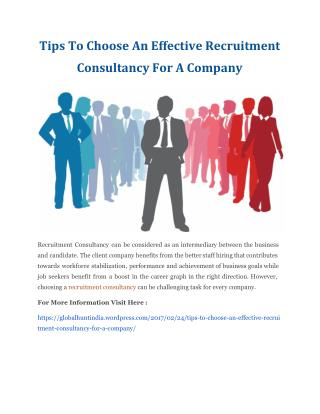 Tips To Choose An Effective Recruitment Consultancy For A Company