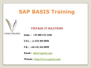 SAP BASIS Online Training | SAP BASIS Certification Singapore