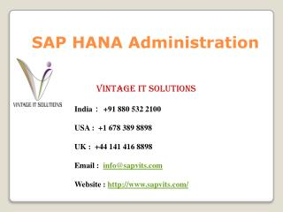 SAP HANA Administration Training Singapore