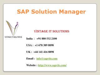 SAP Solution Manager Training Singapore