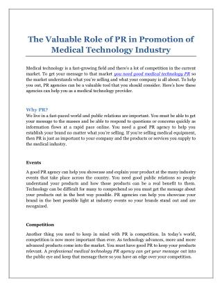 The Valuable Role of PR in Promotion of Medical Technology Industry