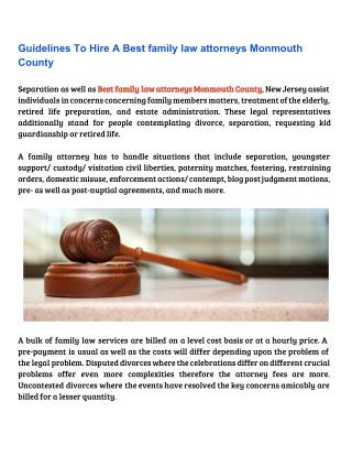 Guidelines To Hire A Best family law attorneys Monmouth County