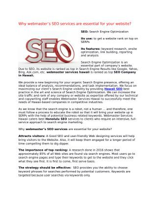 Why webmaster's SEO services are essential for your website?