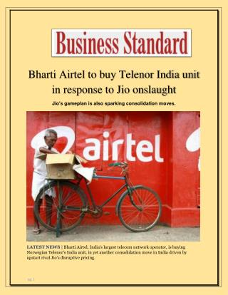 Bharti Airtel to Buy Telenor India Unit in Response to Jio Onslaught