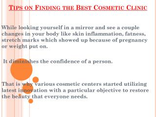 Finding the Best Cosmetic Clinic Tips