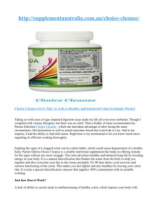 How to take Choice Cleanse ?