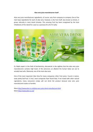Aloe vera juice manufacturers itself