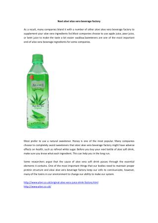 Next alovi aloe vera beverage factory