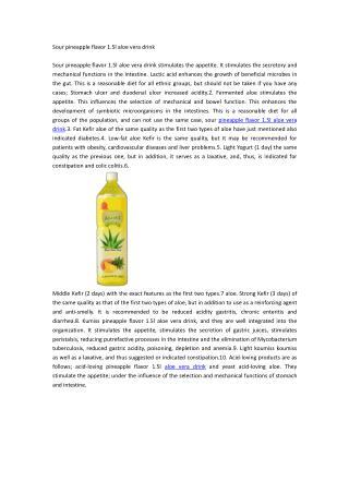Sour pineapple flavor 1.5l aloe vera drink