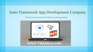 Ionic Mobile Framework App Development Company