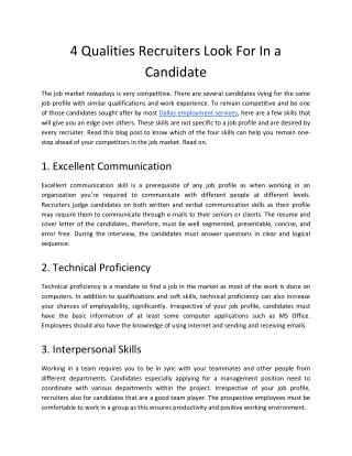 4 Qualities Recruiters Look For In a Candidate