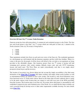 Overview Of Gaur City 7th Avenue, Noida Extension