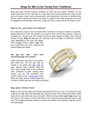 Rings for Men to Go Trendy from Traditional