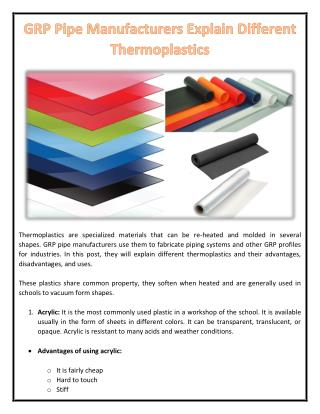 GRP Pipe Manufacturers Explain Different Thermoplastics