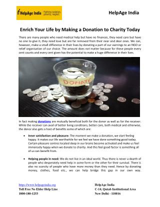 Enrich Your Life By Making A Donation To Charity Today