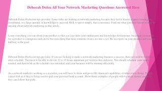 Deborah Dolen Network Marketing: How to Be Successful in The Business