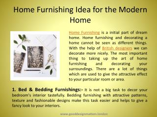 Home Furnishing Idea for the Modern Home
